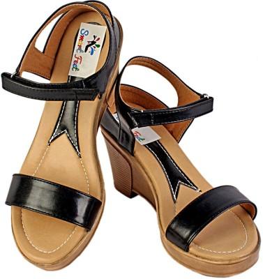 s.m.a.r.t feet Women Black Wedges