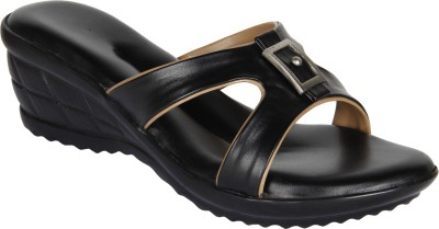 Niremo Black Adorable Synthetic Leather Women Black Wedges