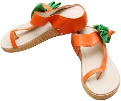 Gadget Women Orange, Green Flats