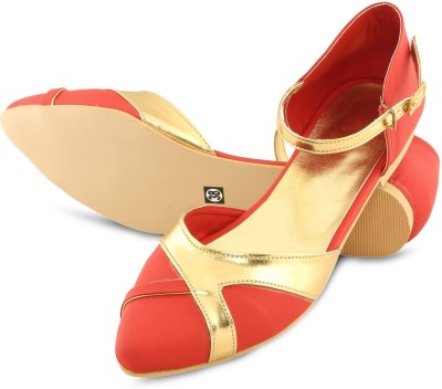 Lee Poise Women Red, Gold Flats