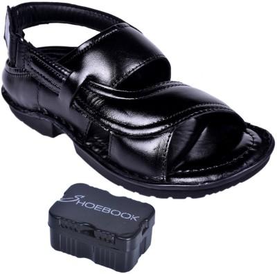 Shoebook Men Black, Black Sandals