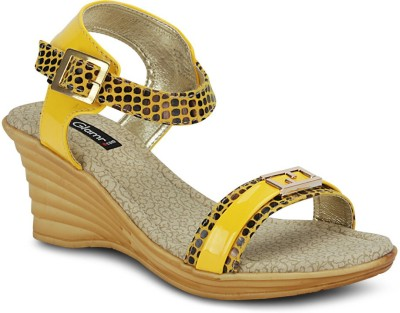 Get Glamr Women Yellow Wedges