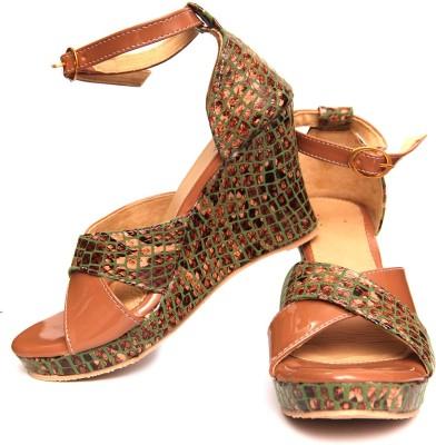 Oh Feet ! Women Beige Wedges
