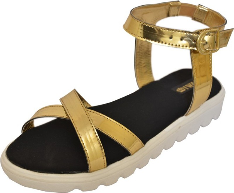 1 Walk Women Gold Flats