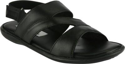 IShoes Leather Sandal Men Black Sandals