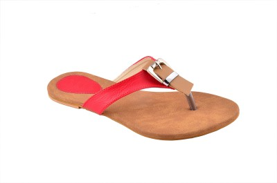 CloverInc Women Red, Beige Flats