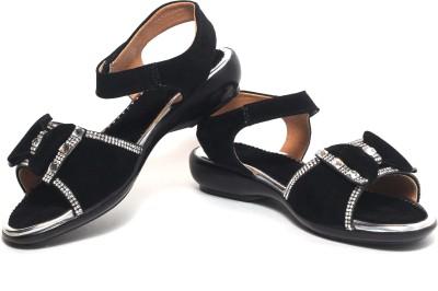 Craze Shop Girls Black, Silver Sandals