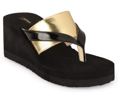 Just Wow Women Black, Gold Wedges