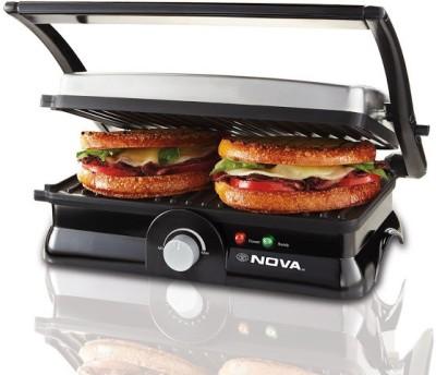 Nova 3 in 1 Panni Grill Press with Adjustable Temperature Control Grill, Toast(Black)
