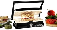 Nova 3 in 1 Panni Grill Press with Adjustable Temperature Control and Ceramic Coating Grill, Toast(Black and White)