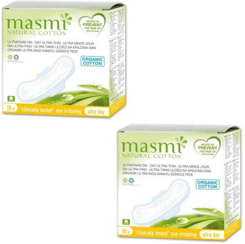 Masmi Organic Cotton Ultra Thin Wings Individually Wrapped Day Napkin Sanitary Pad(Pack of 2)