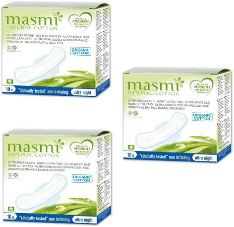Masmi Organic Cotton Ultra Thin Wings Individually Wrapped Night Napkin Sanitary Pad(Pack of 3)