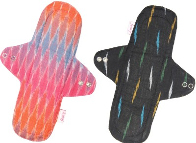 Femy Washable & Reusable Cloth Pad Pack of 2 -Ikkat Black & Ikkat Pink Sanitary Pad(Pack of 2)