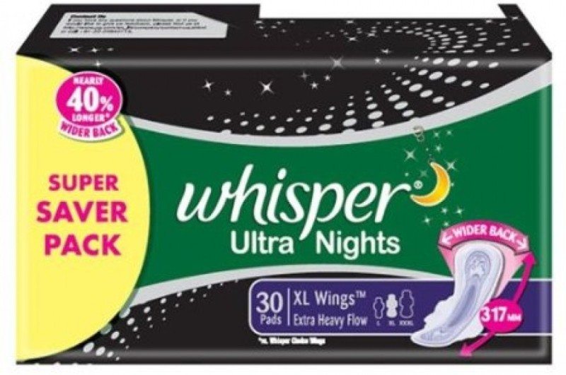 Whisper Ultra Nights Extra Heavy Flow Sanitary Pad(Pack of 30)