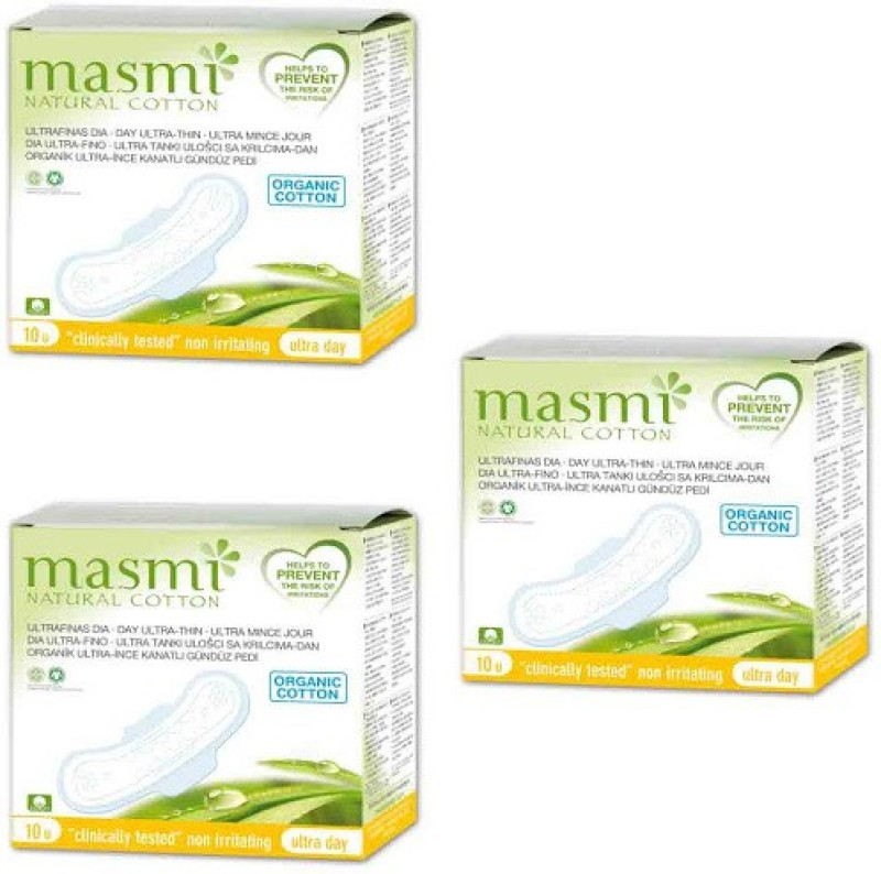 Masmi Organic Cotton Ultra Thin Wings Individually Wrapped Day Napkin Sanitary Pad(Pack of 3)