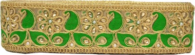 n j laces 26 zari Saree Falls(Green, Gold)