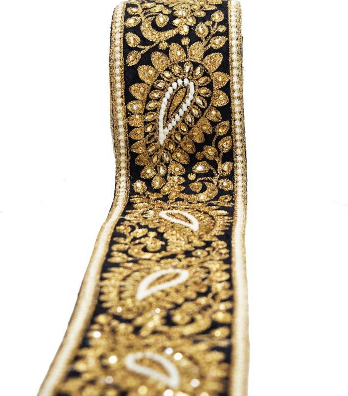 Finesse TUS9457 Dupian Saree Falls(Black, Gold)