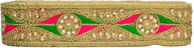N J Laces 35 Zari Saree Falls(Pink, Green, Gold)