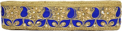 n j laces 23 zari Saree Falls(Blue, Gold)