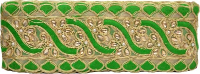 N J Laces 39 Zari Saree Falls(Green, Gold)