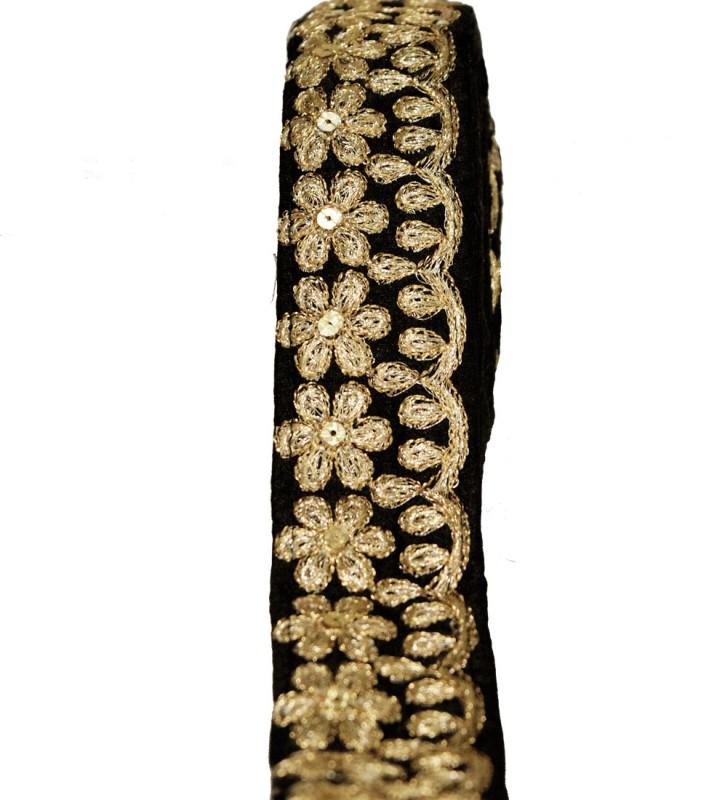 Finesse TUS13078 Dupian Saree Falls(Black, Gold)