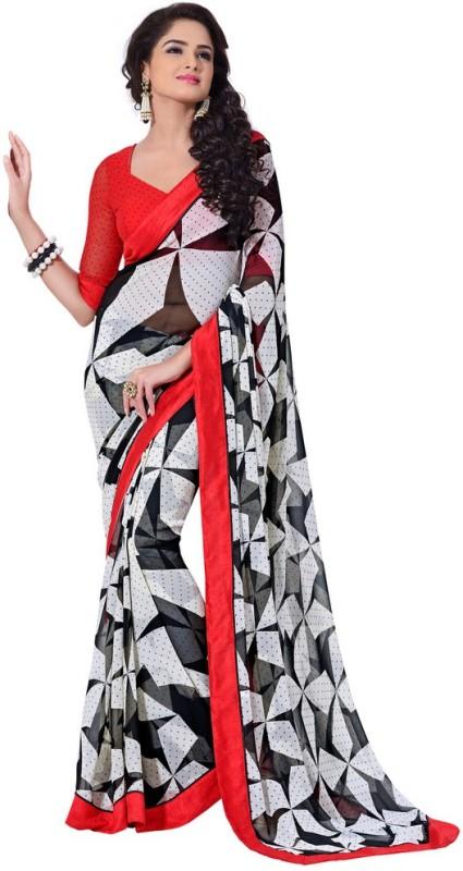 Rajshri Fashions Geometric Print Daily Wear Georgette Saree(Black)
