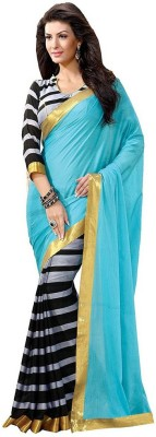 The Core Fashion Striped Bhagalpuri Handloom Banarasi Silk Sari