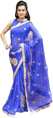 Maahika Embriodered Fashion Synthetic, Georgette Sari