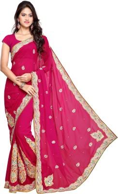 Chandra Silk Mills Embriodered, Embellished Fashion Art Silk Sari