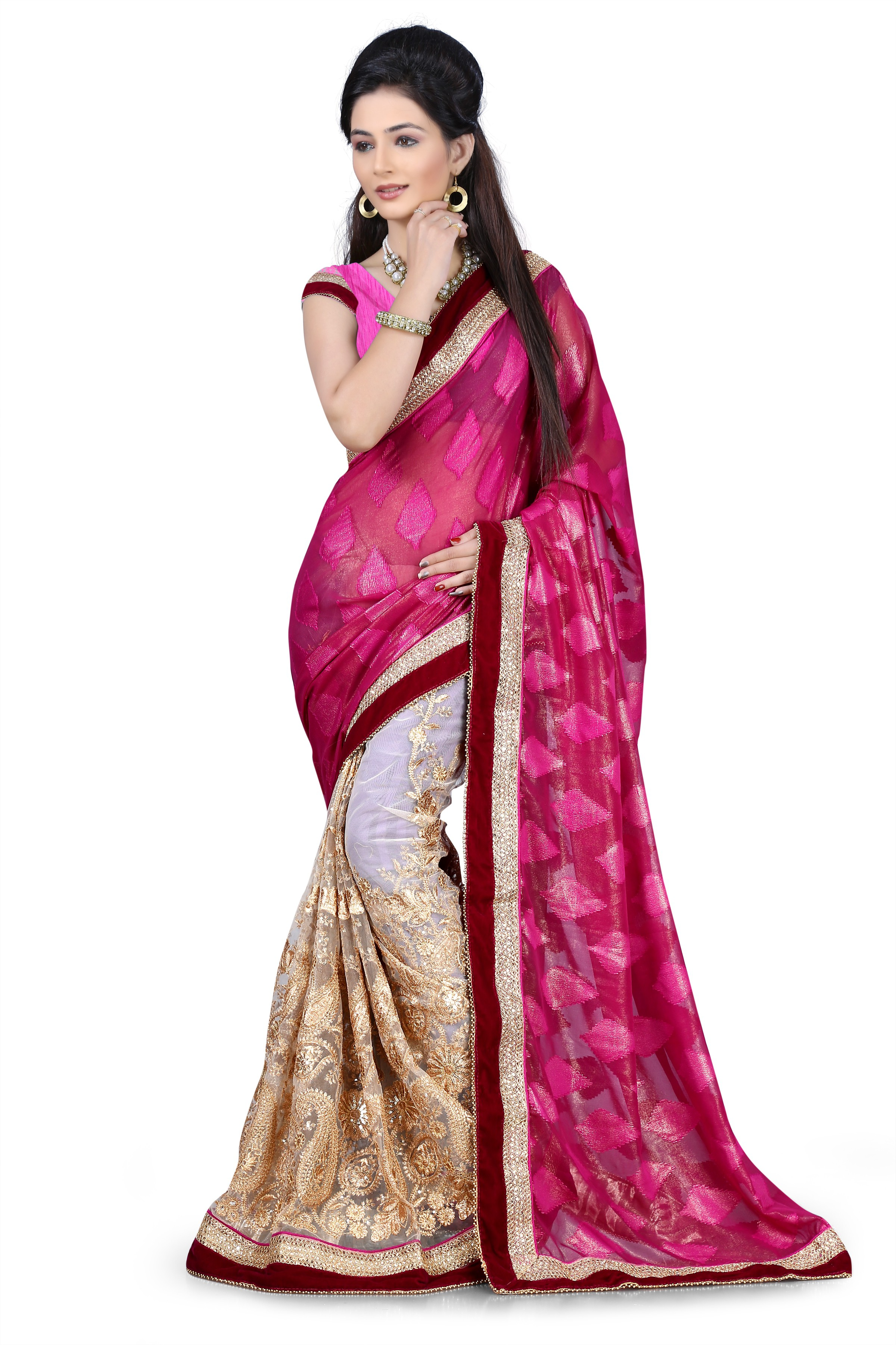 Indianbeauty Self Design, Embriodered Bollywood Jacquard, Net Sari