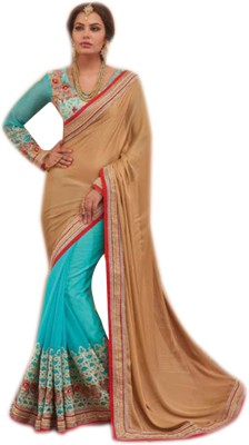 Lajo Solid Bollywood Jacquard, Silk, Chiffon Sari
