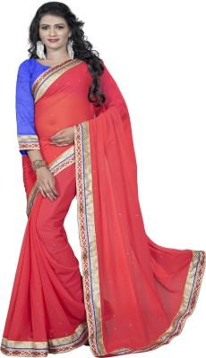 Omkarcreation Solid Bollywood Chiffon Sari