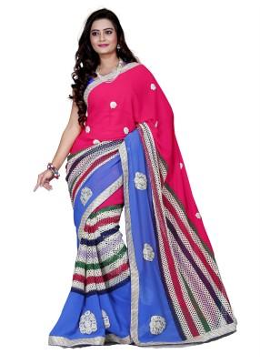 Aanchal Fashion Striped Fashion Georgette Sari