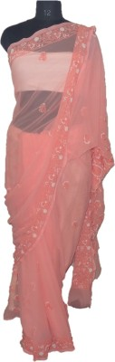 A Quad Embriodered Lucknow Chikankari Pure Georgette Sari