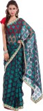 Wuba Solid Hand Batik Net Saree (Green)