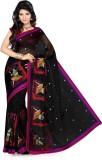 Ishin Printed Fashion Net Saree (Black)