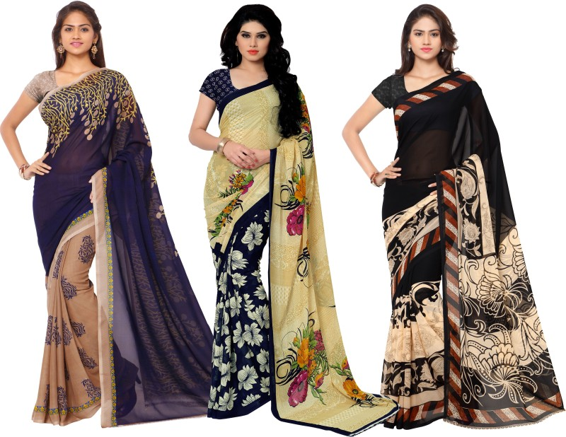 Anand Sarees Printed Fashion Georgette Saree(Pack of 3, Multicolor)