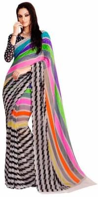 ambey shree trendz Striped Kanjivaram Synthetic Sari