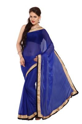 Satrang Solid Bollywood Synthetic Sari