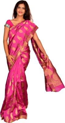Jagadamba Solid Fashion Silk Sari