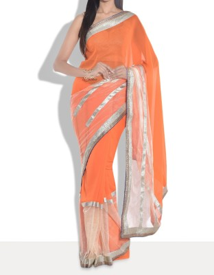 Parmar Design Self Design Bollywood Georgette, Net Sari