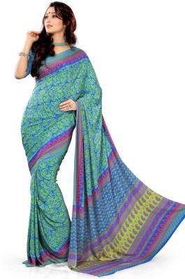 EthnicQueen Floral Print Fashion Crepe Sari