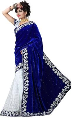 HAPPY FASHION Embriodered Fashion Velvet Sari