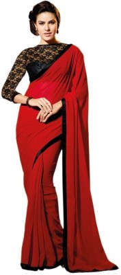 The Core Fashion Plain Fashion Chiffon Sari