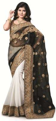 Kashish Lifestyle Self Design, Solid Fashion Net, Georgette Sari