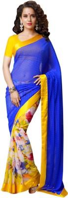 Youthmart Plain Fashion Handloom Chiffon Sari