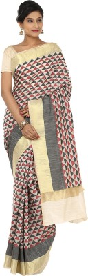 Sevensquare Geometric Print Banarasi Organza Sari