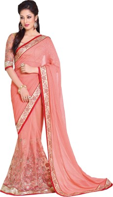 Queenbee Embellished, Embriodered, Self Design Fashion Georgette, Net Sari