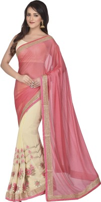 Oomph! Embroidered Bollywood Georgette Sari(Pink)