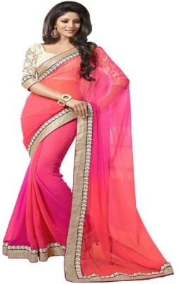 Wowcreation Solid Bollywood Handloom Chiffon Sari